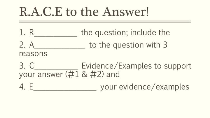 R a c e to the answer