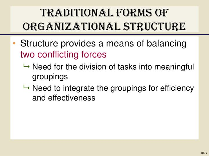 Traditional forms of organizational structure1