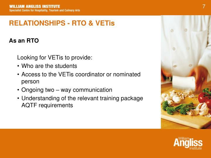 RELATIONSHIPS - RTO & VETis