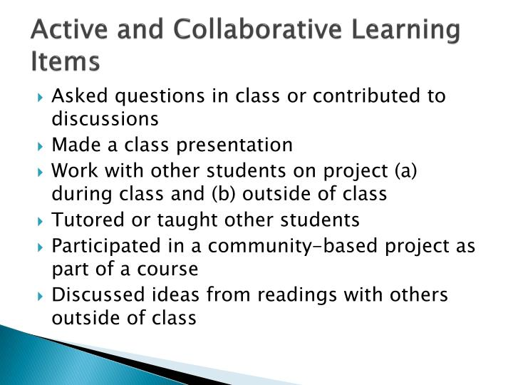 Active and Collaborative Learning Items