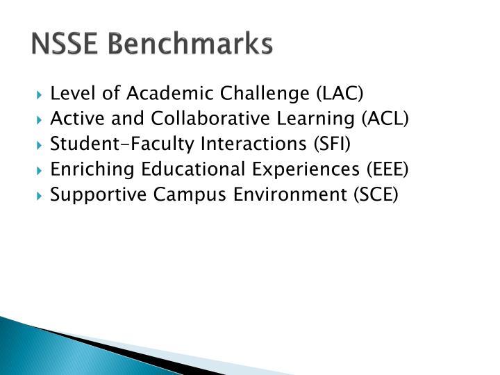 Nsse benchmarks