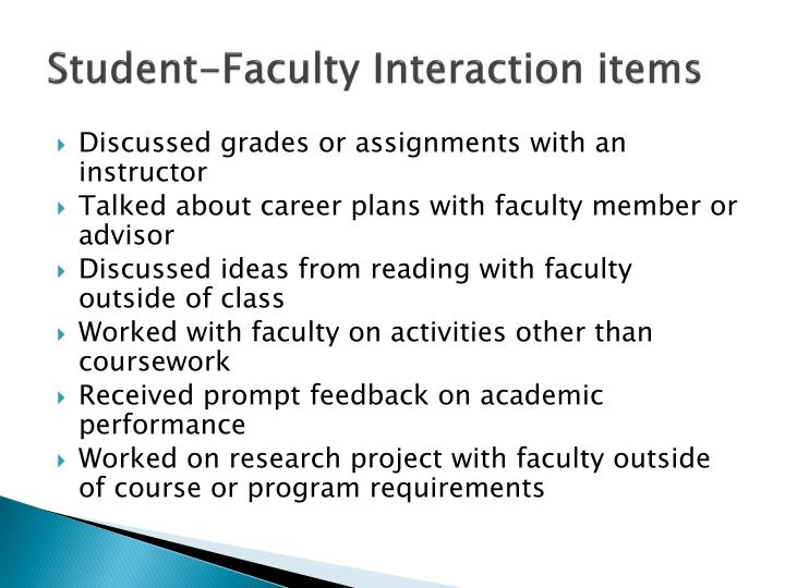 Student-Faculty Interaction items