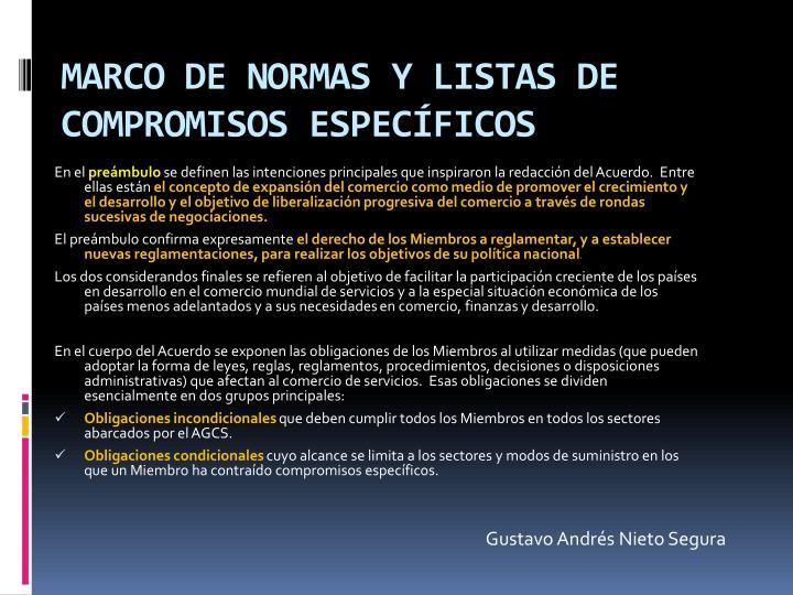 MARCO DE NORMAS Y LISTAS DE COMPROMISOS ESPECÍFICOS