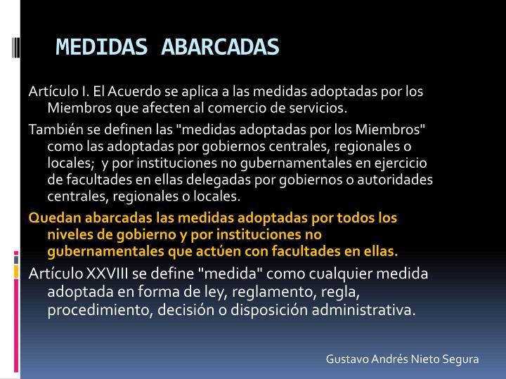 MEDIDAS ABARCADAS