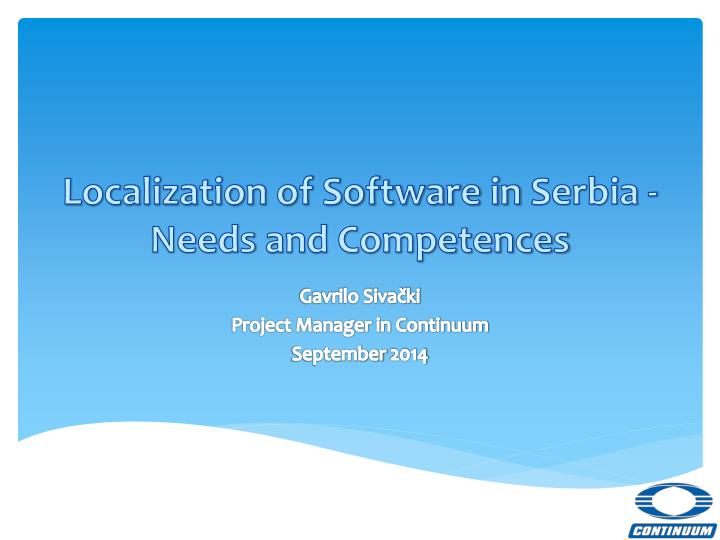 localization of software in serbia needs and competences
