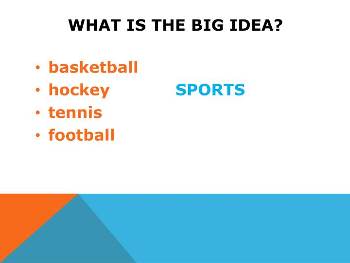 What is the big idea