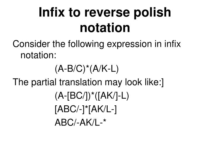 Infix to reverse polish notation