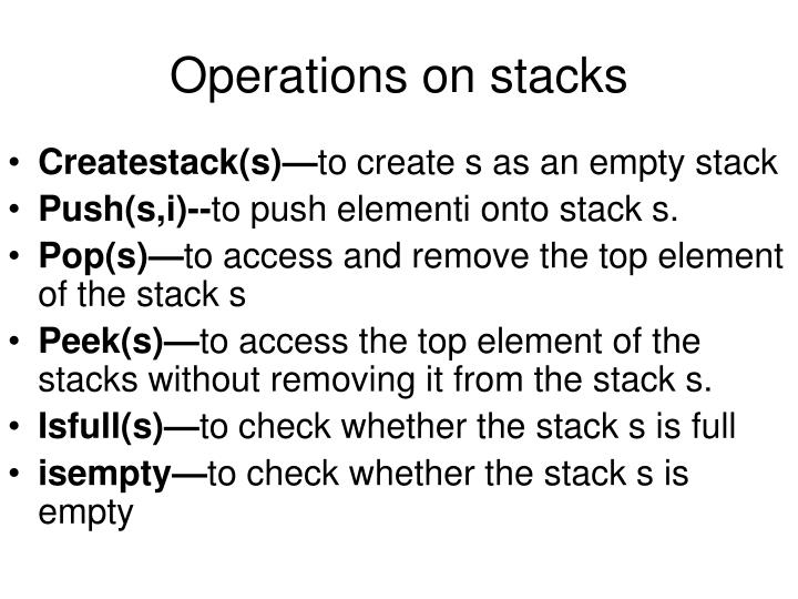 Operations on stacks