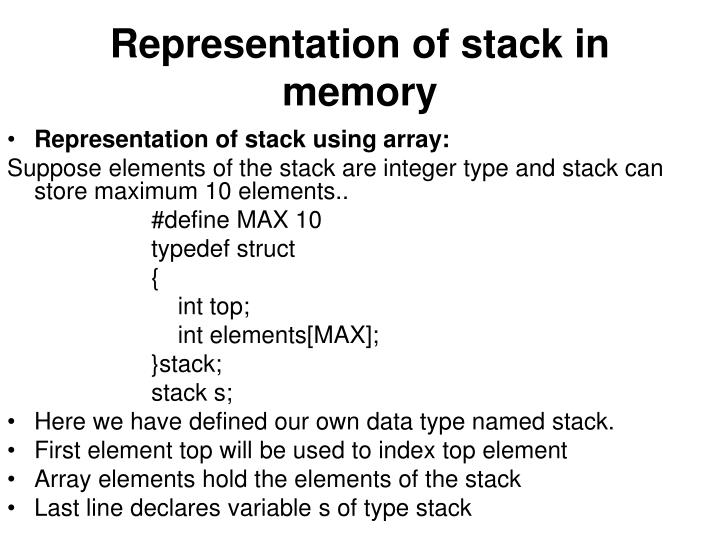 Representation of stack in memory