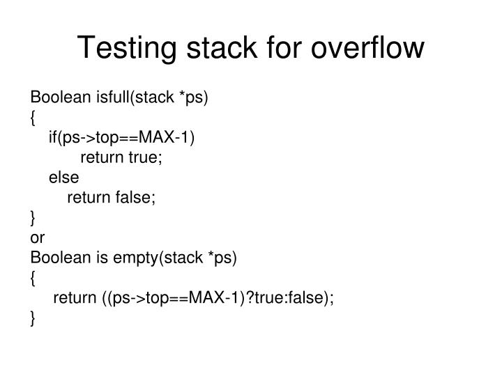 Testing stack for overflow