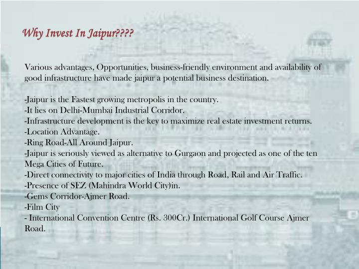 Why invest in jaipur