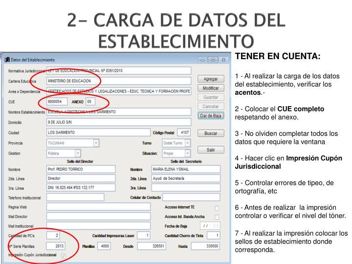 2- CARGA DE DATOS DEL ESTABLECIMIENTO