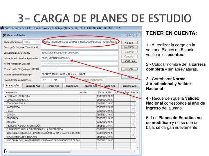 3- CARGA DE PLANES DE ESTUDIO