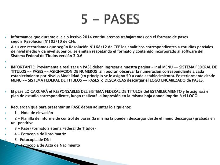 5 - PASES