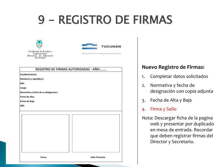 9 - REGISTRO DE FIRMAS