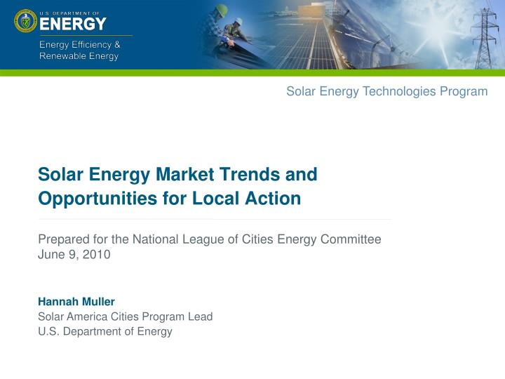 solar energy market trends and opportunities for local action n.