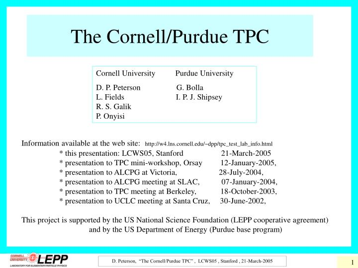 the cornell purdue tpc