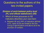 questions to the authors of the two invited papers