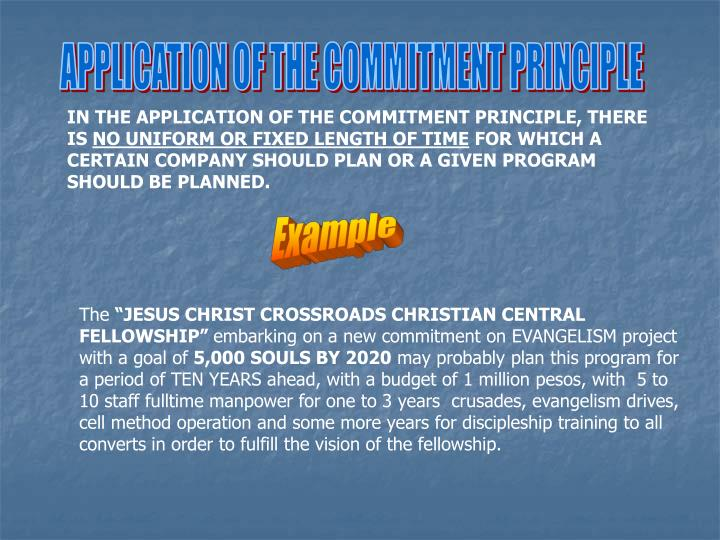 APPLICATION OF THE COMMITMENT PRINCIPLE