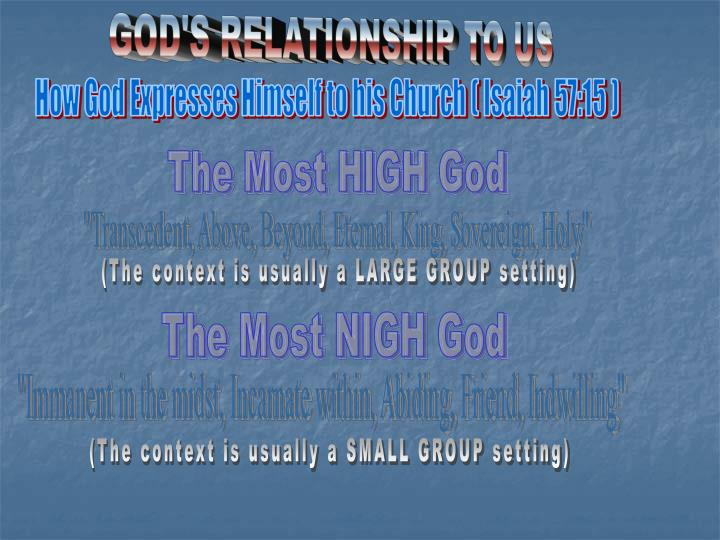 GOD'S RELATIONSHIP TO US