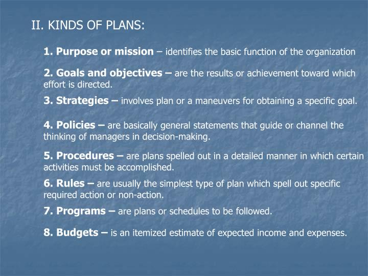 II. KINDS OF PLANS: