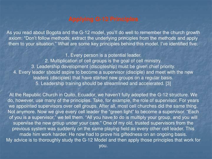 Applying G-12 Principles