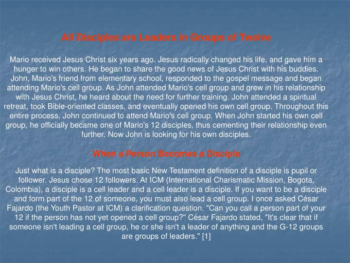 All Disciples are Leaders in Groups of Twelve
