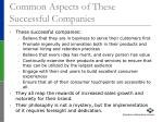 common aspects of these successful companies