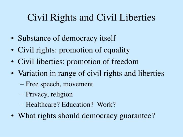 civil liberties vs civil rights It is important to note the difference between civil rights and civil liberties the legal area known as civil rights has traditionally revolved around the basic right to be free from unequal treatment based on certain protected characteristics.