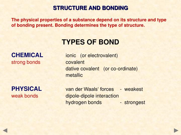 identifying bond type with physical properties essay Bonds vary in type, with each having their own specific properties, effects and strengths these varying types of bonds consist of: covalent, ionic and hydrogen a covalent bond is the chemical bonding in which the attractive force between atoms is created by the sharing of electrons, resulting in the formation of a cell's molecules and is.
