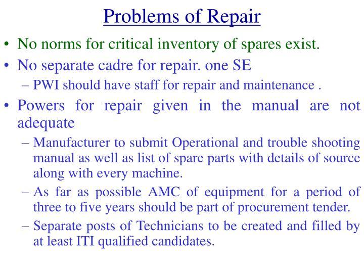 Problems of Repair