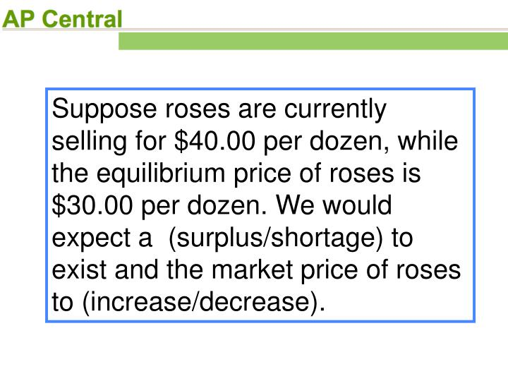 Suppose roses are currently selling for $40.00 per dozen, while the equilibrium price of roses is $30.00 per dozen. We would expect a  (surplus/shortage) to exist and the market price of roses to (increase/decrease).