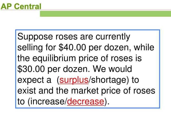 Suppose roses are currently selling for $40.00 per dozen, while the equilibrium price of roses is $30.00 per dozen. We would expect a  (