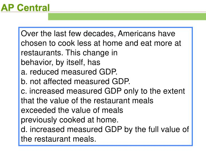 Over the last few decades, Americans have chosen to cook less at home and eat more at restaurants. This change in