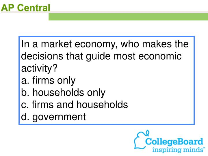 In a market economy, who makes the decisions that guide most economic activity?