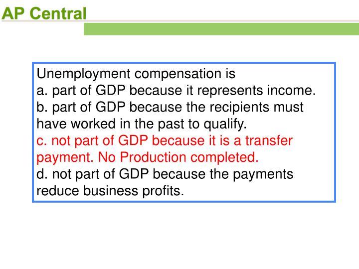 Unemployment compensation is
