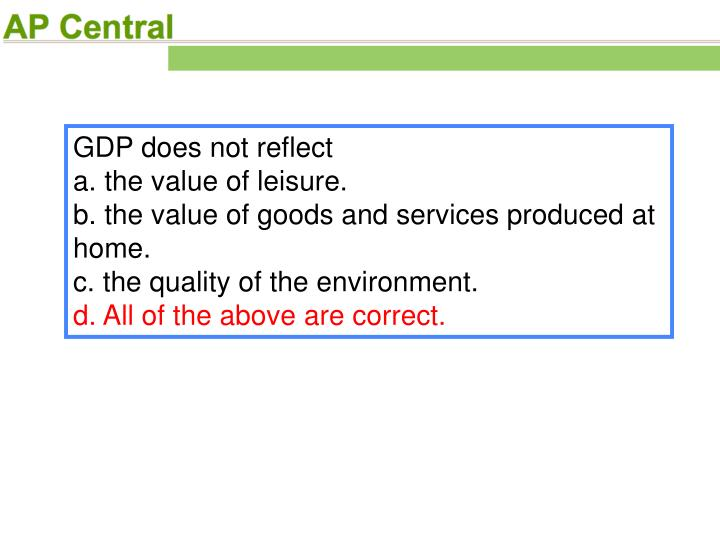 GDP does not reflect