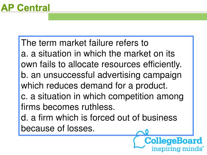 The term market failure refers to