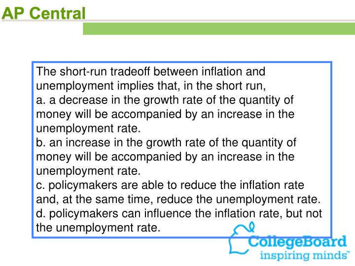 The short-run tradeoff between inflation and unemployment implies that, in the short run,