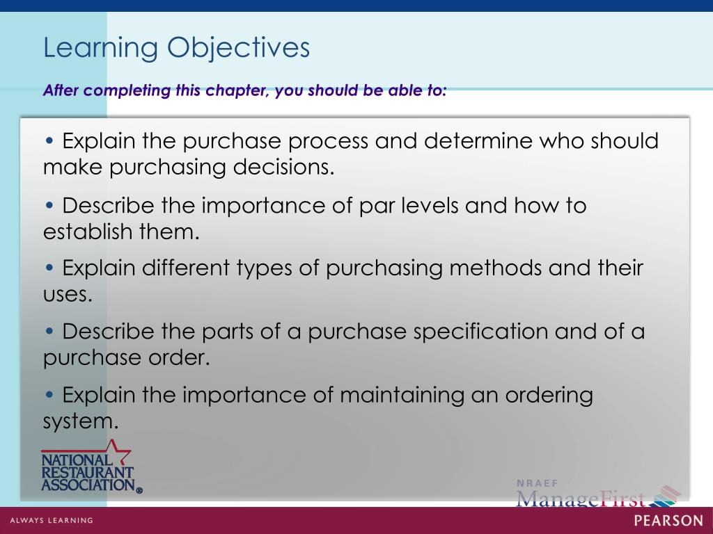 PPT - Controlling Food Costs in Purchasing and Receiving
