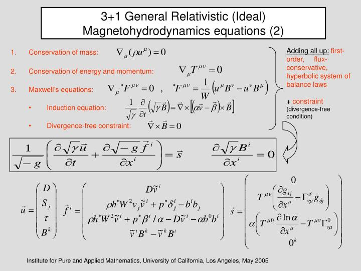 3+1 General Relativistic (Ideal) Magnetohydrodynamics equations (2)