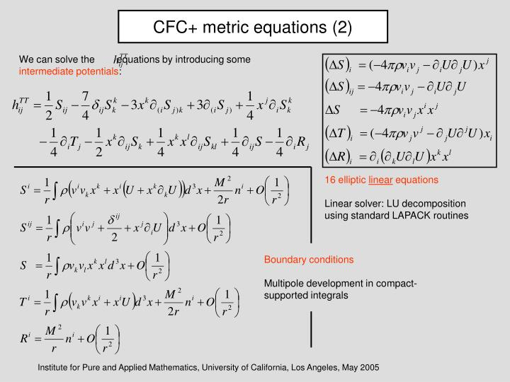 CFC+ metric equations (2)
