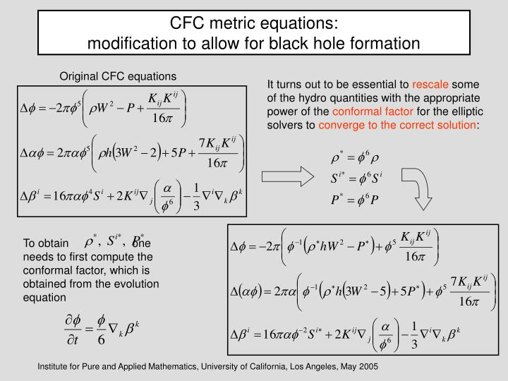CFC metric equations: