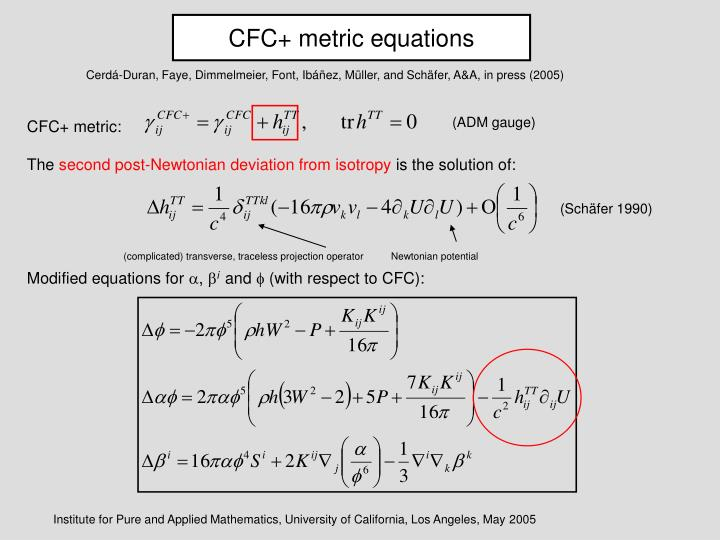CFC+ metric equations
