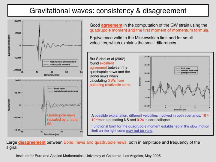 Gravitational waves: consistency & disagreement