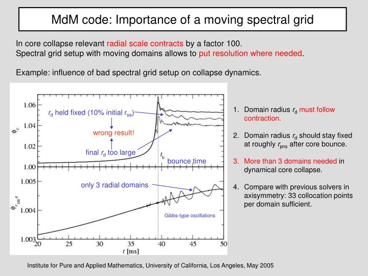 MdM code: Importance of a moving spectral grid