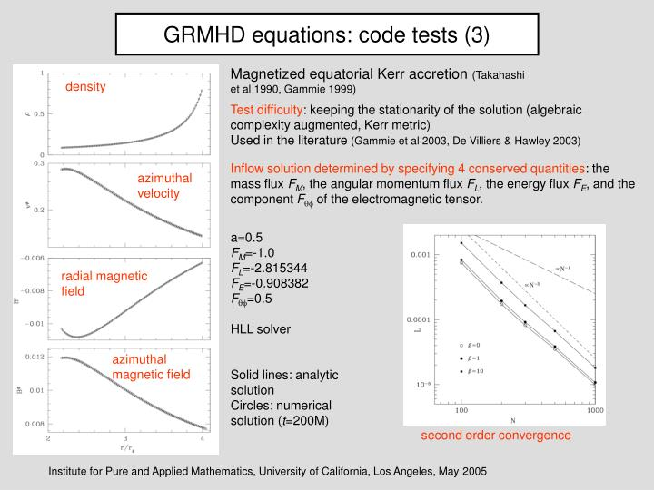 GRMHD equations: code tests (3)