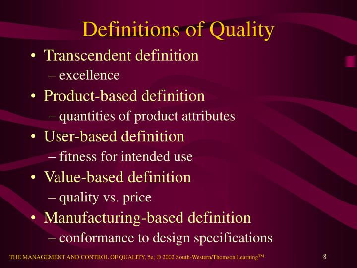 Definitions of Quality