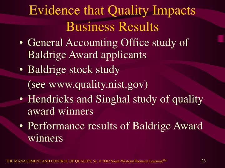 Evidence that Quality Impacts Business Results