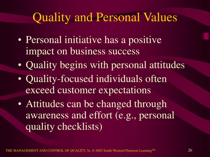 Quality and Personal Values